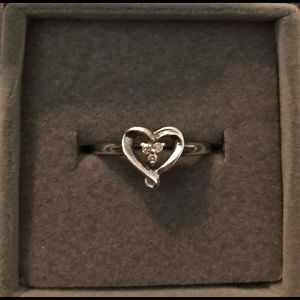 Sterling silver heart promise ring